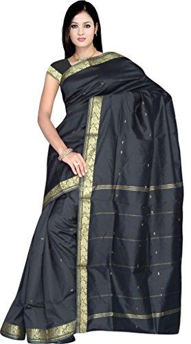 Sari Salwar Kameez Bollywood Saree Indien Goldbrokat Orient Ethno Boho Batik Karneval Schwarz