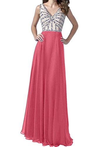 ivyd ressing Donna Semplice abito da ballo scollo a V Chiffon di Party festa Prom abito abito sera vestito Rot