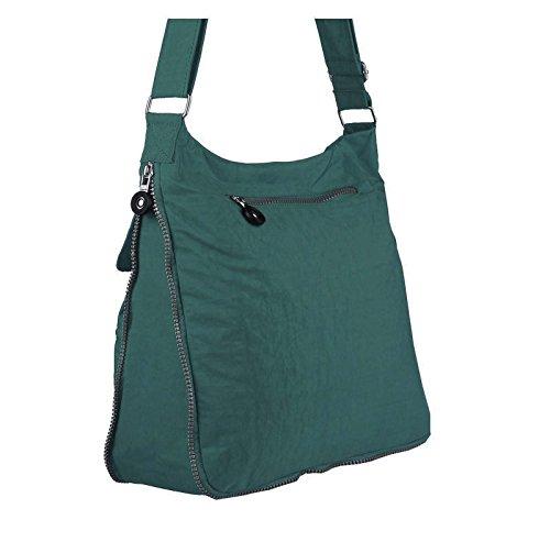OBC Unisex Erw. & Kinder Tasche ERWEITERBAR Schultertasche Freizeit Shopper Tablet/Netbook bis ca. 10-13 Zoll (Taupe-Stone) Grün-Petrol