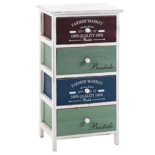 CARO-Möbel Kommode Mehrzweckschrank Schubladenkommode COLORIS in weiß, Anrichte mit 4 Schubladen in 3 Farben, Shabby...