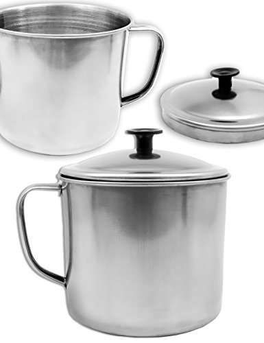 OUTDOOR SAXX® - Rustikaler Outdoor Becher Tasse Pott Topf mit Deckel | zum Kochen von Speisen auf Stove, Grill, Lagerfeuer, Kocher | - Camping-kaffee-topf Edelstahl
