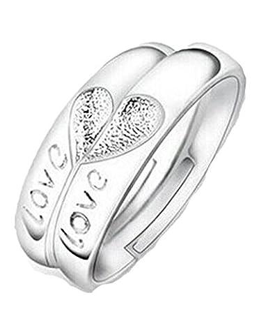 Summens Schmuck Ein Paar Ringe 925 Sterling Silber Ewige Liebe Herz Ringe Verstellbare Paarring