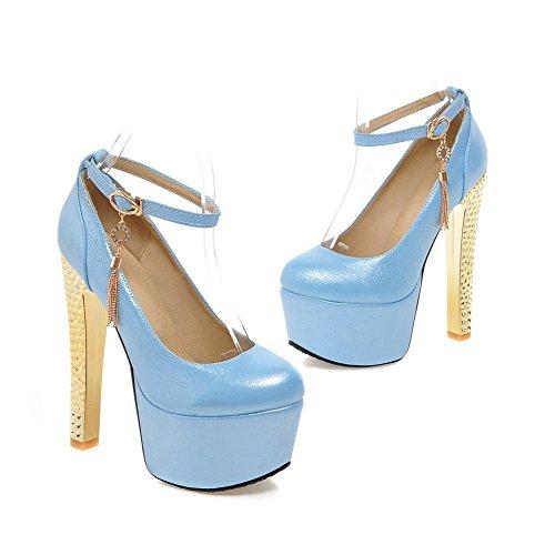 Adee Femme ankle-cuff metalornament polyuréthane Pompes Chaussures Bleu