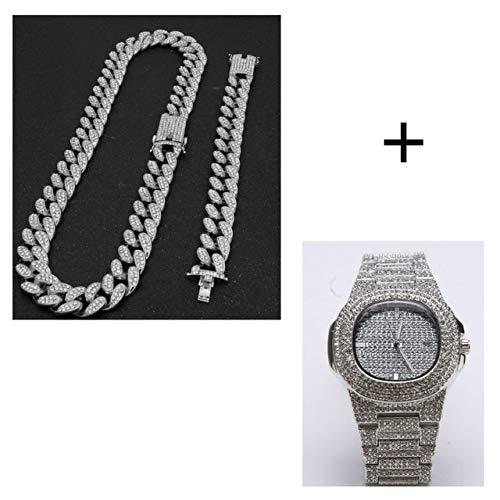 WSCDEH2Cm Golduhr Schmuck Iced Out Kristall Miami Kubanische Kette Gold Silber Herrenuhr & Amp Halskette & Amp Armband Set König Neue Uhr Versilbert