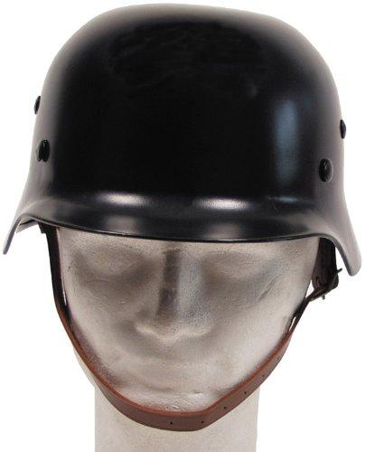 Stahlhelm WW II, schwarz, mit Leder-Innenteil Schwarz (Halloween-kostüm Security Guard)