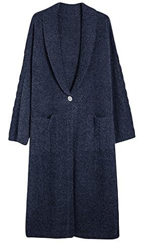 Vogueearth Fashion Women's Long Sleeve Turndown Collar Buckle Knit Sweater Long Coat Cardigan Blue