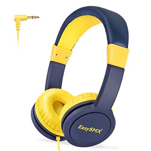 EasySMX Cascos Niños, [Regalos] Auriculares para Niños con 3.5 mm Jack, Cascos Infantiles con Cable, Cascos para Niño con Volumen Limitado de 85dB, Plug y Play, Regalo para Niños de 3-12 Edad