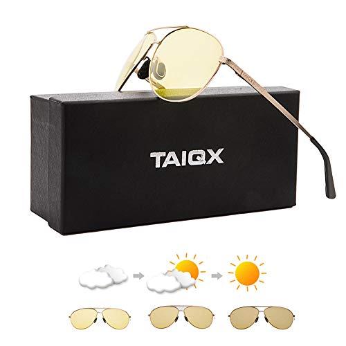 TAIQX Flieger Sonnenbrille für Männer und Frauen Premium Military Polarized Sonnenbrille Titanium Frame (Gold Frame/photochromic yellow Lens)