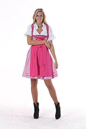Oscartrachten, 3tlg. Dirndl-Set - Trachtenkleid, Bluse, Schürze - Dirndl midi rosa-rosa kariert, Größe: 44