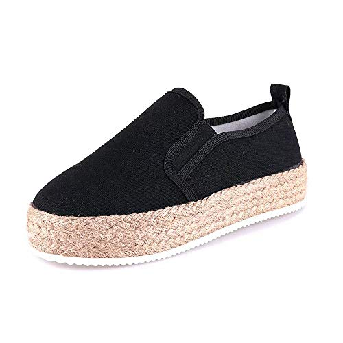 Espadrillas Donna Platform Alte Zeppa 4 Cm Tacco Basse Loafers Caviglia Piatto Tela Slip On Scarpe Eleganti Moda Comode Nero 40