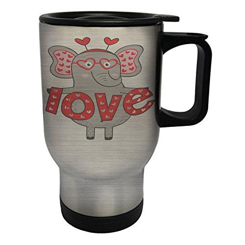 chica elefant en el amor me encanta Taza de viaje térmica de...