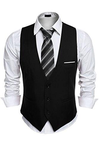 Burlady Anzugweste Herren V-Ausschnitt Ärmellose Westen Slim Fit Smoking Sakko Herrenweste Herrenanzug Anzug Business (Hahn Anzug)