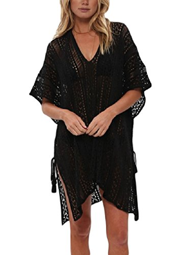 LazLake Damen Strandkleid Badeanzug Bikini Cover up Strandponcho Sommer Bademode LXF13 Black