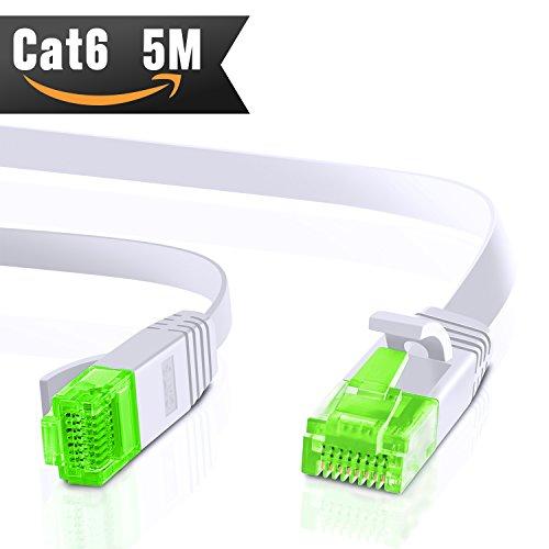 5m CAT.6 Ethernet Gigabit Lan Netzwerkkabel (RJ45) 1Gbps 250Mhz,Switch, Router, Modem, Patchpannel, Access Point, Patchfelder, weiß von CableMonsta