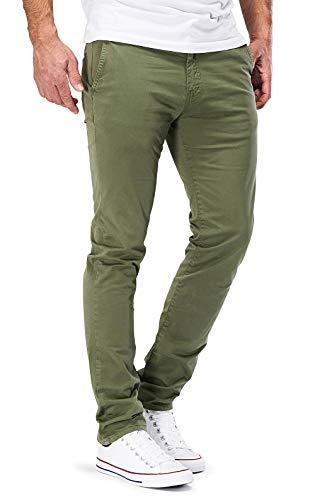 DSTROYED ® Chino Herren Slim fit Chinohose Stretch Designer Hose Neu 505 (29-32, 505 Oliv) Blau-grüne Hose