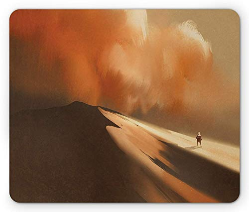 Fantasy Mouse Pad, Mysterious Shadow Man Walking Through Sand Storm in Desert Hiking Wind Hot Image Art, Standard Size Rectangle Non-Slip Rubber Mousepad, Cream