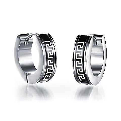 OPK Jewellery Boucles d'oreilles créoles argent motif mur en acier inoxydable Noir Unisexe pour Homme