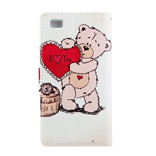 Coque pour Huawei P8 Lite, ISAKEN Élégant Style PU Cuir Flip Magnétique Portefeuille Etui Housse de Protection Coque Étui Case Cover avec Stand Support pour Huawei P8 Lite 5 Pouces (#9) #31