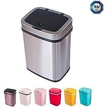Cubo de basura sensor 12 litros cubo de basura automático cubo de cocina de empuje colorido cocina ecológica baño sala de estar (12 L, acero inoxidable)