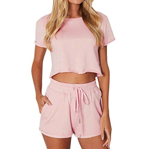 FORH Neue Herbst bekleidungsset Damen, Lange Ärmel Sweatshirt Hoodie Bluse + Ultra Elastic lange Hose zwei Stück Ausstattung slim fit Sportlich Bekleidungssets (S, Rosa)