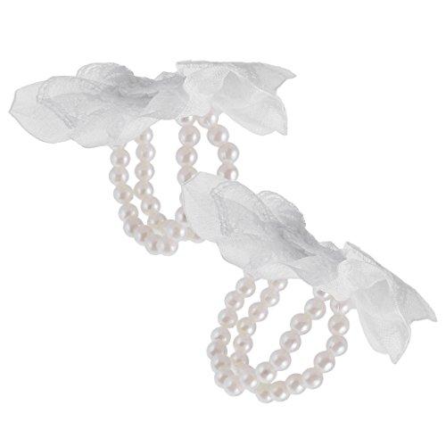 Gazechimp 10 Stück Handgelenk Corsage Bands Blumenhalter Spitze Perlen Hochzeit Dekor - Weiß, One Size (Diy Corsage Handgelenk)