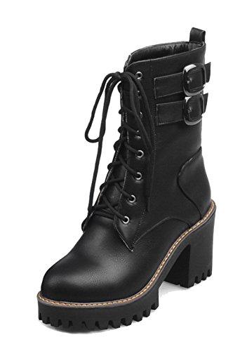 Ageemi shoes donna stringata punta chiusa tonda fibbia in metallo invernali stivali,eux82 nero 40
