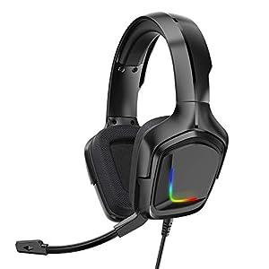 4D-Gaming-Headset mit 50-mm-Treiber und Lautstärkeregler für Mikrofone mit ergonomischem RGB-Licht-Surround-Sound-Gaming-Headset für PS4 / Xbox One / PC / Mobiltelefon von Sttoce