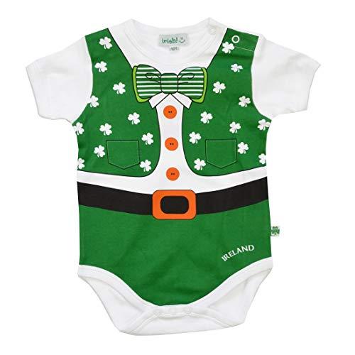 Irish Baby-outfits (Carrolls Irish Gifts Baby-Unterhemd im Kobold-Look mit Kleeblättern und Einer Fliege)
