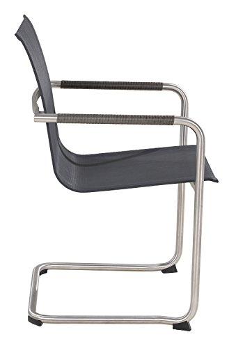 Garten-Stuhl Freischwinger ALINE 2   Grau Braun   Edelstahl Kunststoffgeflecht - 3