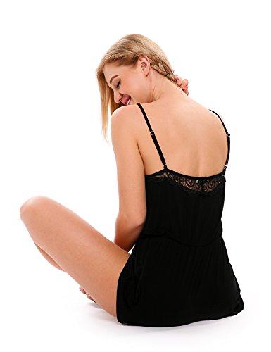 Ekouaer Damen V-Ausschnitt Strampelanzug Spitze Jumpsuit Spaghettiträger Overall Kurz Pyjama Schwarz
