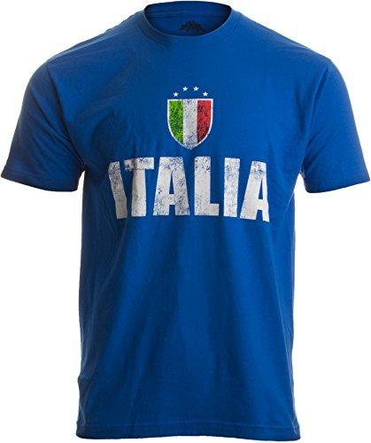 """""""Italia"""" - im Stil der Azzurri Futbol (Italienische Fußballnationalmannschaft der Männer) - Vintage-Look Herren/Unisex T-Shirt mit Schriftzug -L"""