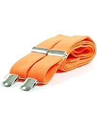 Plain Coloured Skinny Braces - Yellow, Orange, White and Red 1.8 cm wide (Neon Orange)