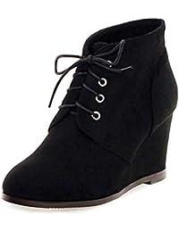 Minetom Otoño Invierno Botines Mujer Tacón Ancho Cuña Botas Botita Botines Moda Casual Gamuza Zapatos Elegante…