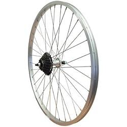 WHS Rueda trasera de aleación para bicicleta de montaña de 66 cm con perno TWR943. Se coloca atornillándola + Piñón libre 14/28Shimano