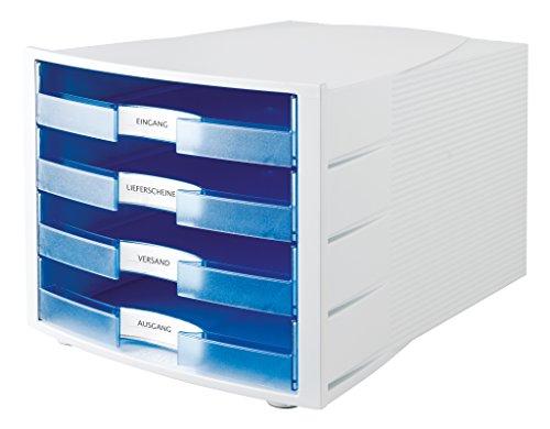 HAN 1011-X-64, Schubladenbox IMPULS, Neu! Innovatives, attraktives Design in höchster Qualität. Mit großem Beschriftungsfeld und 4 offenen Schubladen, lichtgrau/transluzent-blau