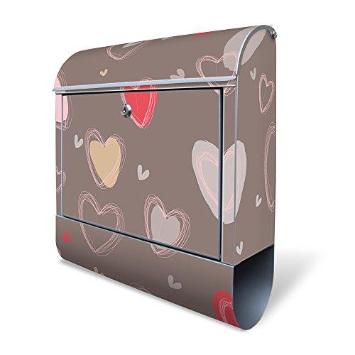 BANJADO Design Briefkasten mit Zeitungsfach, 2 Schlüssel, A4 Einwurf, silber pulverbeschichtet, mit Motiv Pastell Herzen