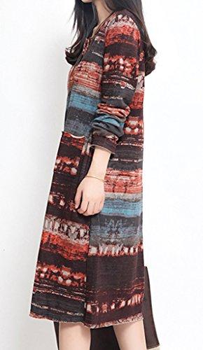 Smile YKK One Size 2XL Damen Geblümt Muster Damen Herbst Kleid Knielanges  Kleid Long Sleeve Braun