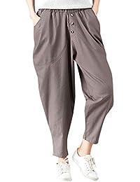a7798d3fada MCYs Chic Femmes Casual Taille Haute évasé Pantalon Casual Couleur Unie  Cordon De Serrage Haute Taille Loose Pantalon Large Longues…