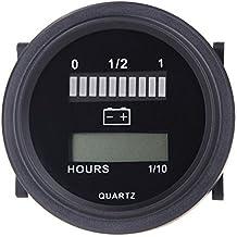 Indicador - TOOGOO(R)12V / 24V / 36V / 48V / 72V Indicador de carga de LED Digital Estado de la bateria con el metro de la hora de Calibre Negro
