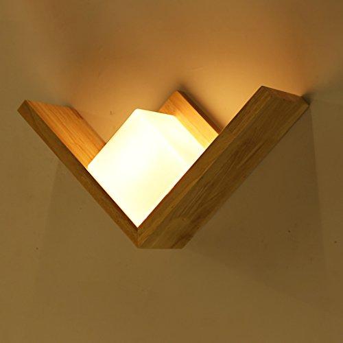 Frelt Wandleuchte Kreative Einfache Wandlampe Treppenhaus Flur Schlafzimmer Lampe Nachttischlampe Holz Led Massivholz Lampen