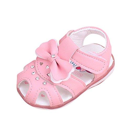 FNKDOR Baby Mädchen Sandalen Babyschuhe LED Licht Leuchten Leuchtende Bowknot Schuhe(6 Monate/11.5 cm,Pink)