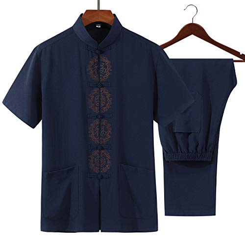 FHKL Traditionelle Kleidung Tang Anzug -Martial Arts Tangzhuang Kung Fu Anzüge Shirt Outfit Uniform,DarkBlue-XXL
