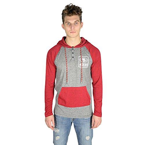 Icer Brands NFL Herren Fleece-Kapuzenpullover Henley Team Color, Herren, Fleece Hoodie Pullover Sweatshirt Henley, Team Color, rot, Medium