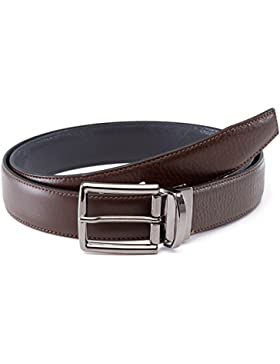 LUCHENGYI Cinturón Hombre Cuero Hebilla Reversible Cinturón de Piel de Bicolor Negro y Azul Oscuro/Marrón y Azul...