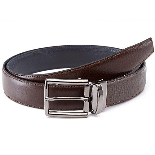 LUCHENGYI Cinturones Reversibles Hombres Cuero Estrecho Caballero Cinturón  Hebilla Giratoria Piel Auténtica Italiana Marrón y Azul 5b63f6244c80