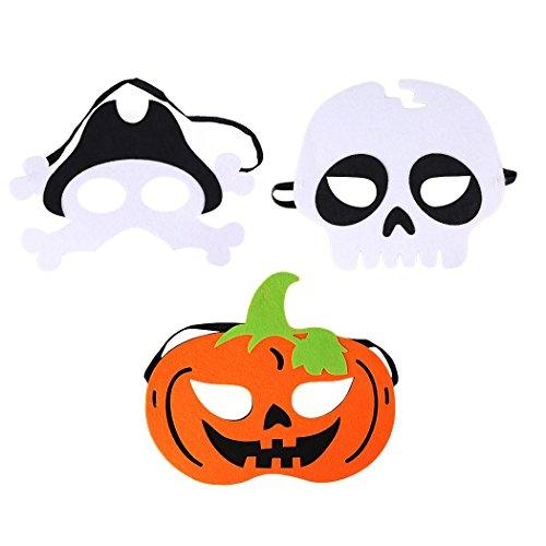 Halloween Maske für Kinder - 3Pcs Masken - Kürbis Piraten Skelett Kopf Filz Cosplay Maske Maskerade Maske für Kinder Spielzeug für Jungen und Mädchen - Halloween Costumes (Maskerade Maske Für Mädchen)