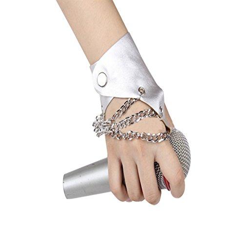 Damen Herren Fingerlos Handschuhe Kette Punk Hip Hop Handschuhe Fäustlinge aus PU Leder und Metall für Bühnenauftritte, Party, Club, Festivals, (Handschuhe Silber Mädchen Weiß Glitzer)