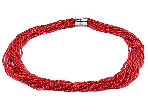 jyx korallenkette, rot 2 mm rot rund koralle 20 Stränge Halskette 58,4 cm