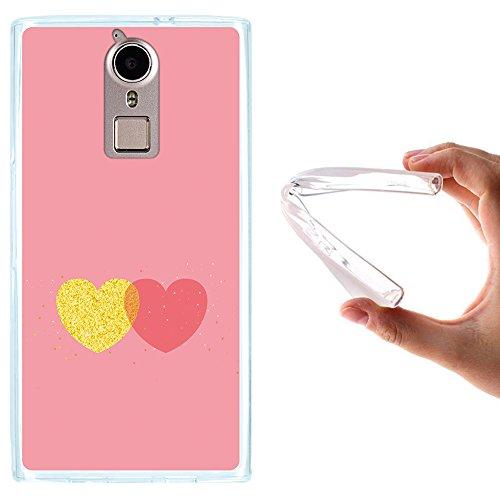 WoowCase Doogee F5 Hülle, Handyhülle Silikon für [ Doogee F5 ] Schickes Stil Herz, Gold & Rosen Handytasche Handy Cover Case Schutzhülle Flexible TPU - Transparent