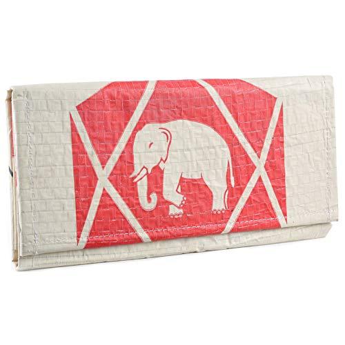 Upcycling Portemonnaie (einfach gefaltet) - recycelter Zementsack, Farbe/Aufdruck:Elefant Neu Beige-Rot - Deluxe Damen Geldbörse